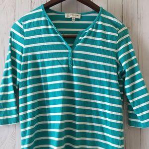 Jones New York  Women's Striped 3/4 Sleeve Shirt